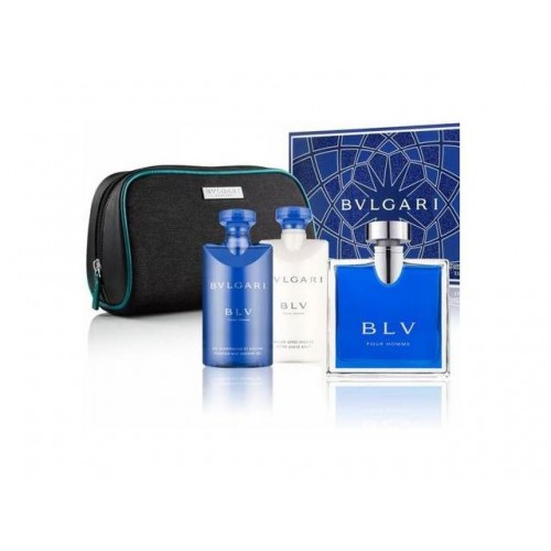 Bvlgari Blv Pour Homme Set Pouch en Showergel 75 ml en Aftershave 75 ml en 100 ml EDT